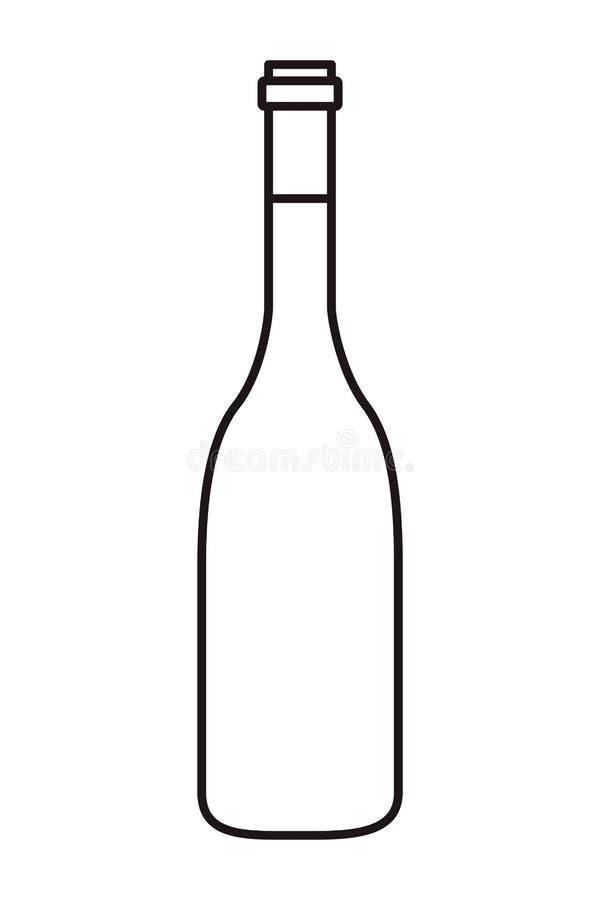 Isolerad symbol f?r vinflaska stock illustrationer