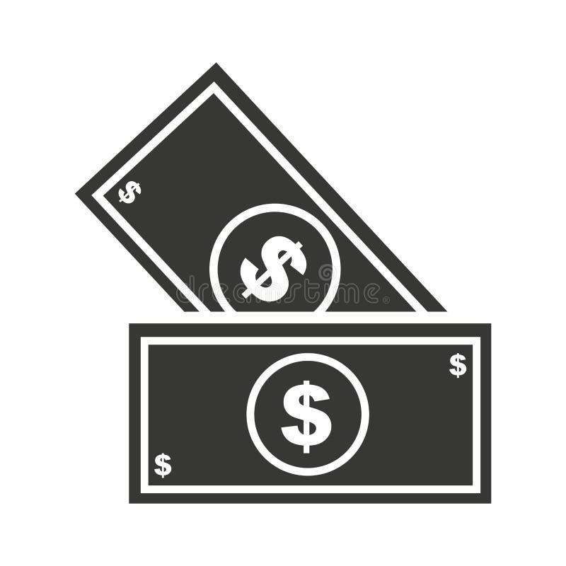 isolerad symbolsdesign för räkningar dollar stock illustrationer