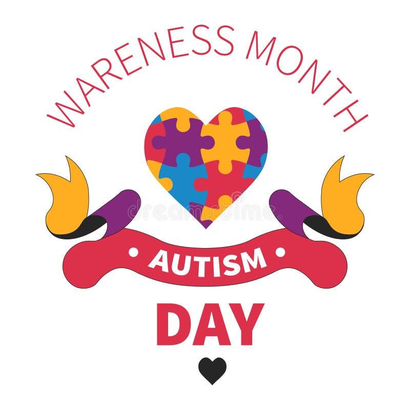 Isolerad symbolshjärta för autism dag av figursågen eller pussel vektor illustrationer