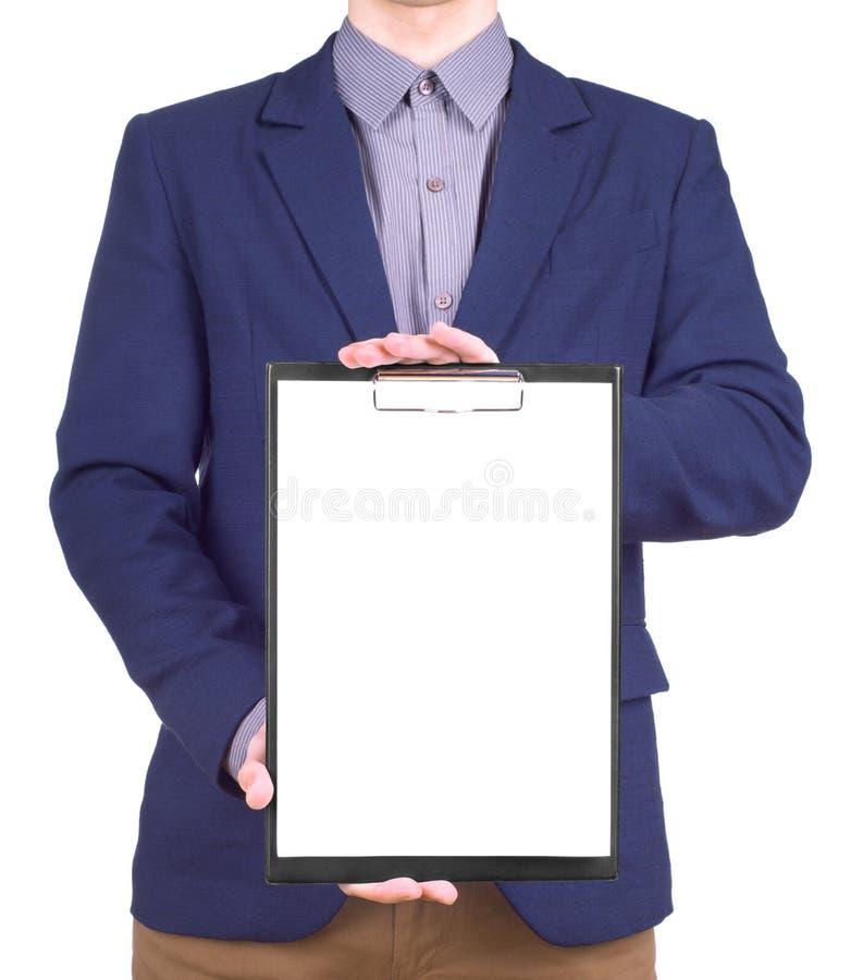 isolerad tagen white för affärsmanclipboardholding information fotografering för bildbyråer
