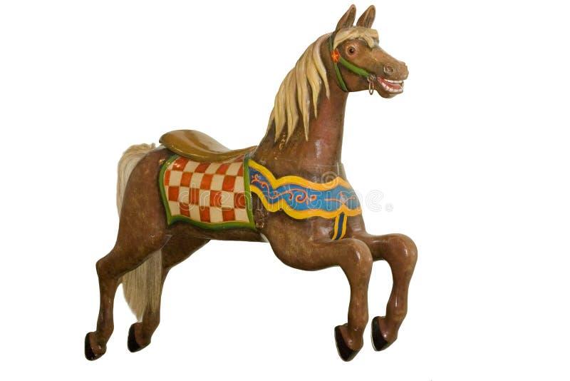isolerad tappning för karusell häst arkivfoton