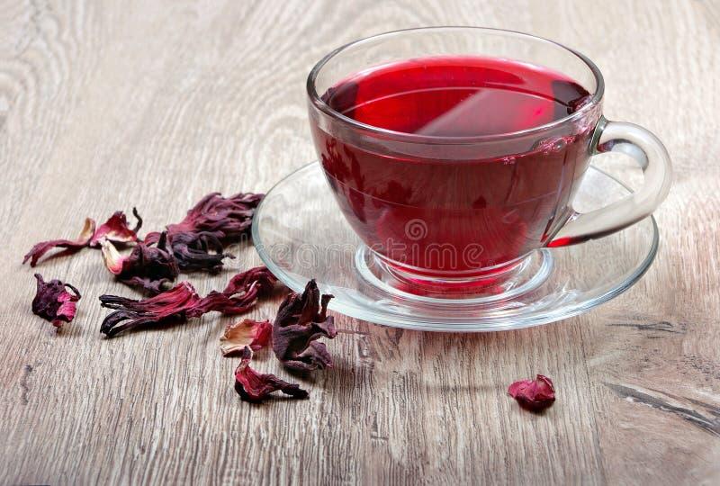 isolerad teawhite för bakgrund hibiskus Hibiskuste i en träsked Vitaminte för förkylning och influensa royaltyfri bild