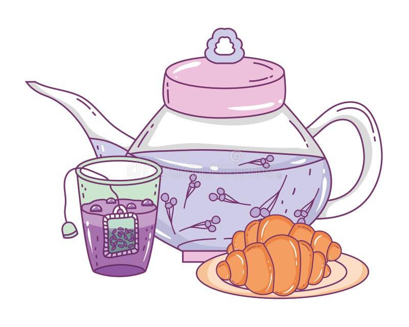 Isolerad tekruka- och bröddesign vektor illustrationer