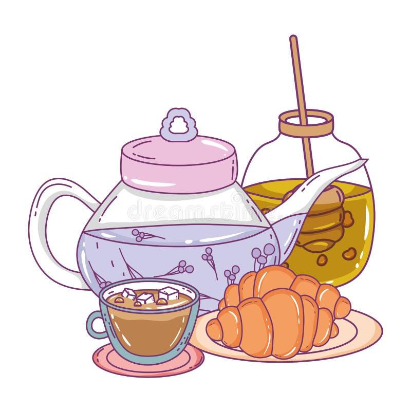 Isolerad tekruka- och bröddesign stock illustrationer
