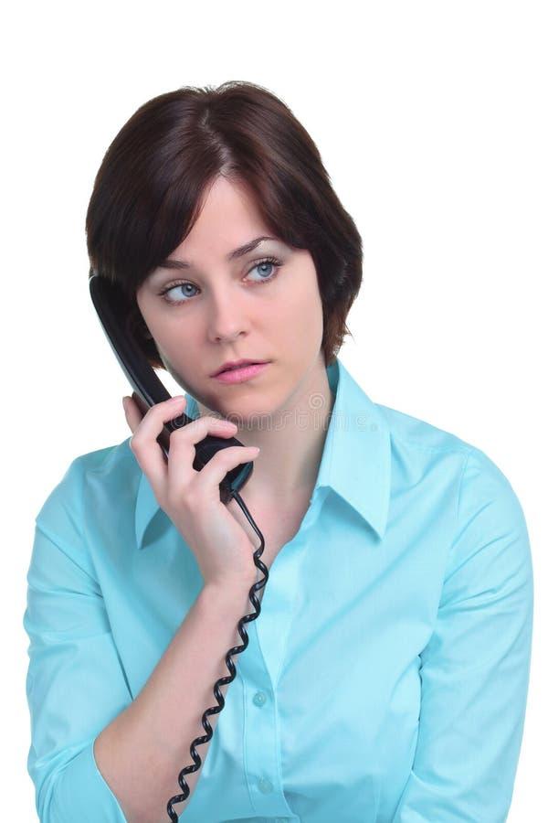 isolerad telefonwhitekvinna fotografering för bildbyråer