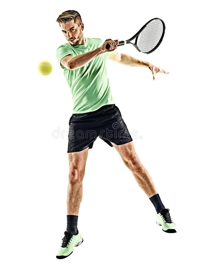 Isolerad tennisspelareman arkivfoton