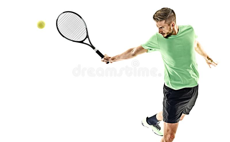 Isolerad tennisspelareman royaltyfria foton