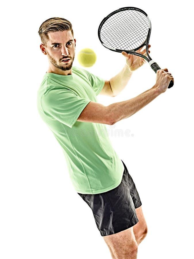 Isolerad tennisspelareman royaltyfri fotografi