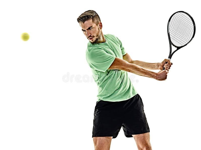 Isolerad tennisspelareman arkivbilder