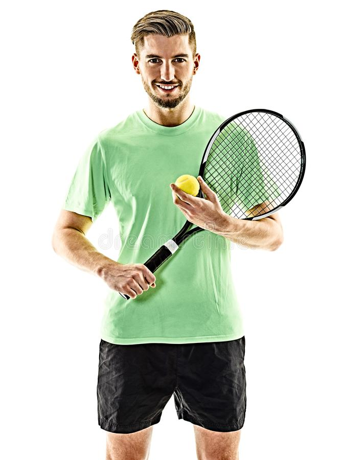 Isolerad tennisspelareman arkivbild