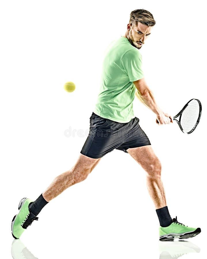 Isolerad tennisspelareman royaltyfria bilder