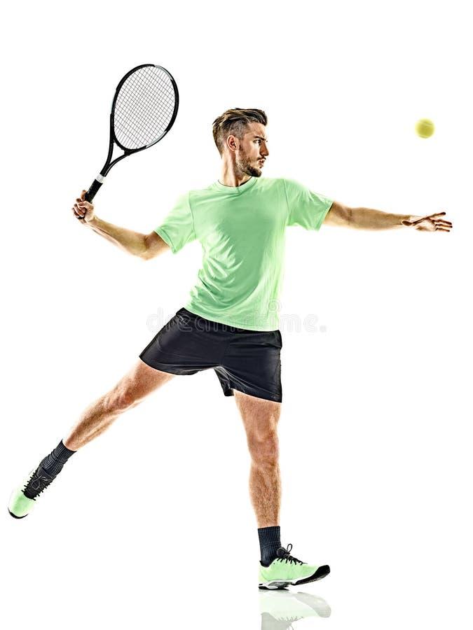 Isolerad tennisspelareman royaltyfri foto