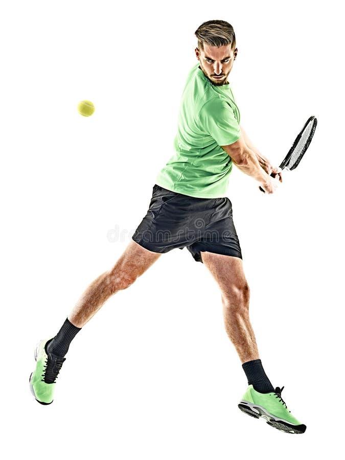 Isolerad tennisspelareman fotografering för bildbyråer
