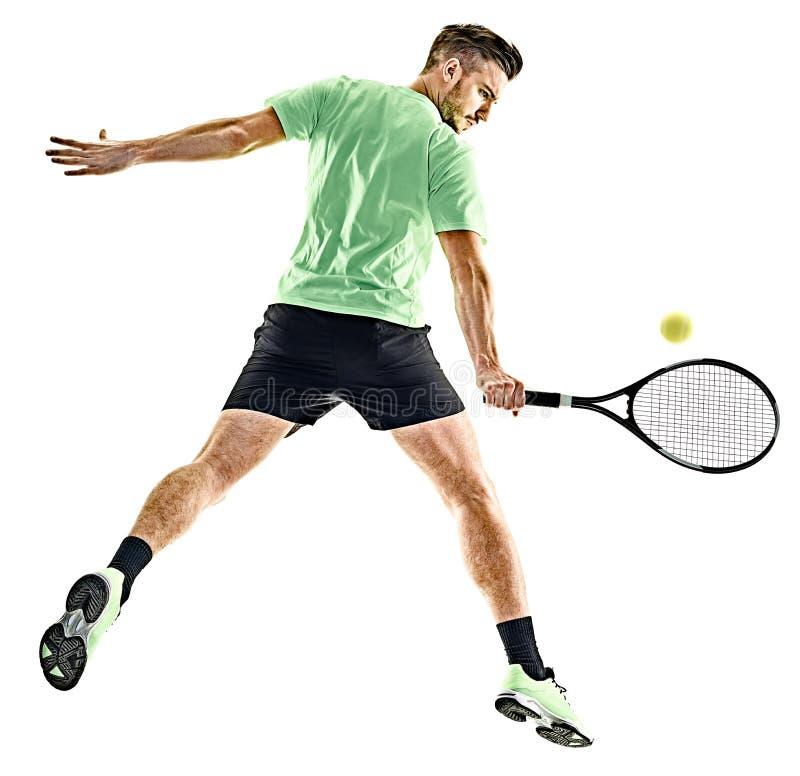 Isolerad tennisspelareman royaltyfri bild