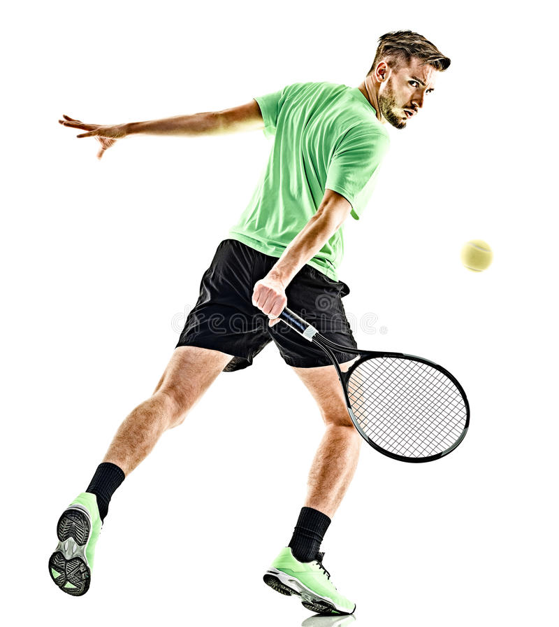 Isolerad tennisspelareman arkivfoto