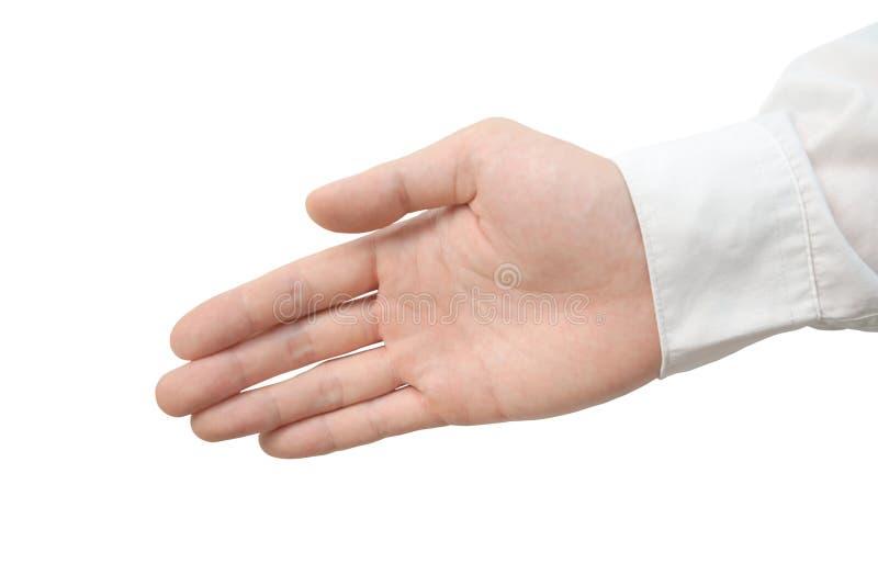 Isolerad thailändsk manlig hand royaltyfria foton