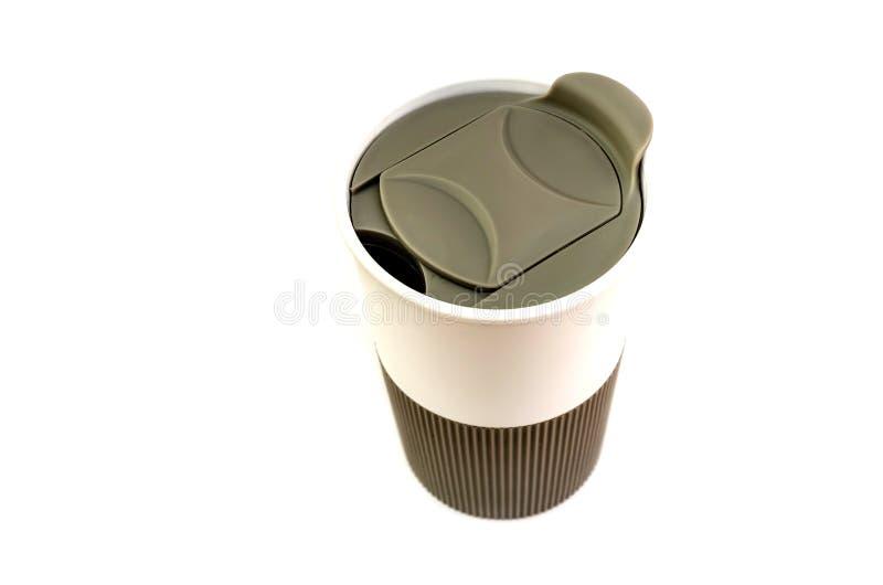 isolerad thermo white för bakgrund kopp royaltyfri bild