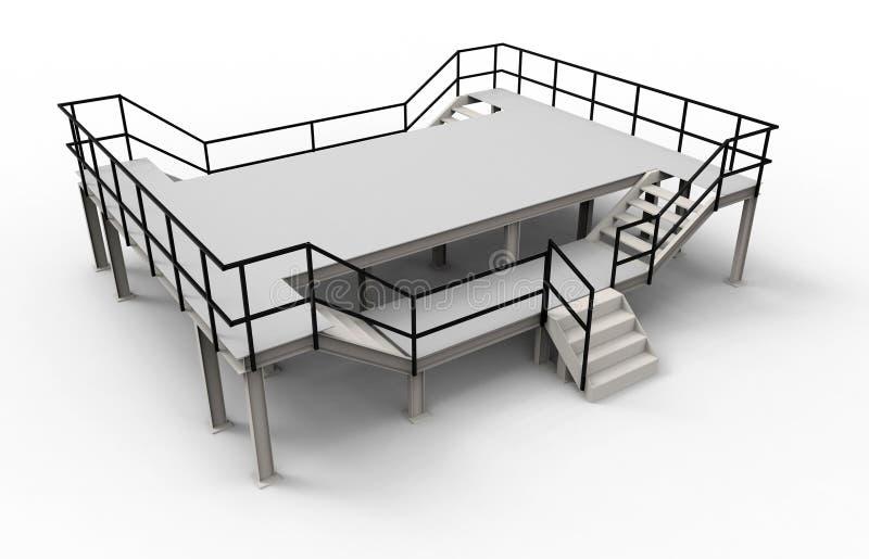 Isolerad tom fabriksplattform stock illustrationer