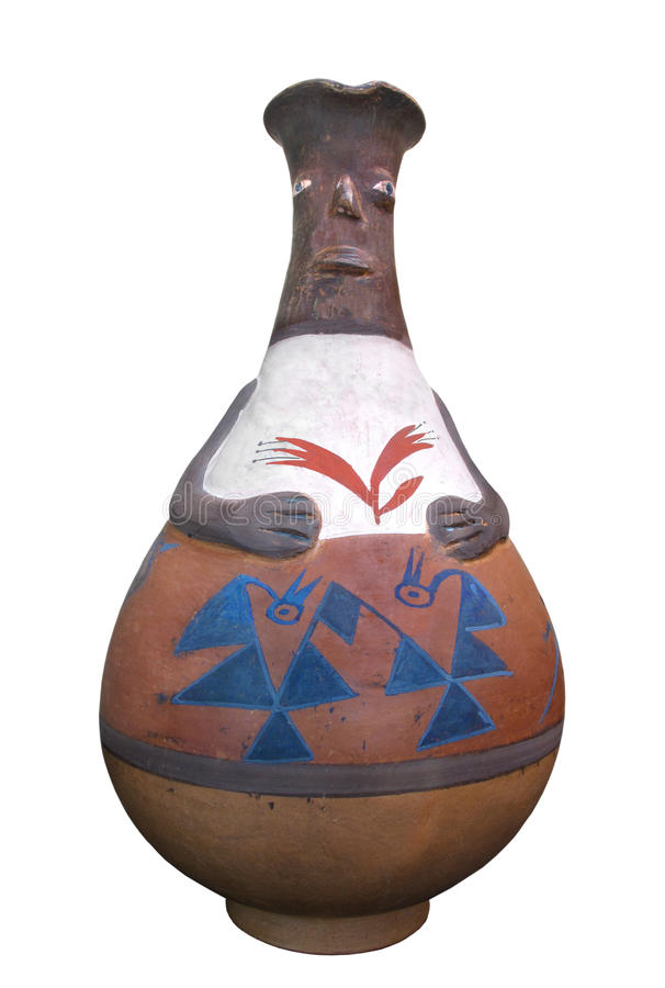 Isolerad traditionell peruansk indisk krukmakeri royaltyfria bilder