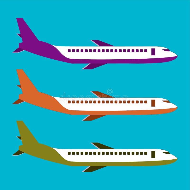 Isolerad typ av flygplanvektorn Illustration för flygplansidosikt Moderna typer av flygplanet arkivbild
