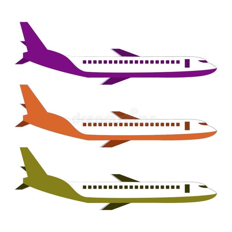 Isolerad typ av flygplanvektorn Illustration för flygplansidosikt Moderna typer av flygplanet arkivfoto