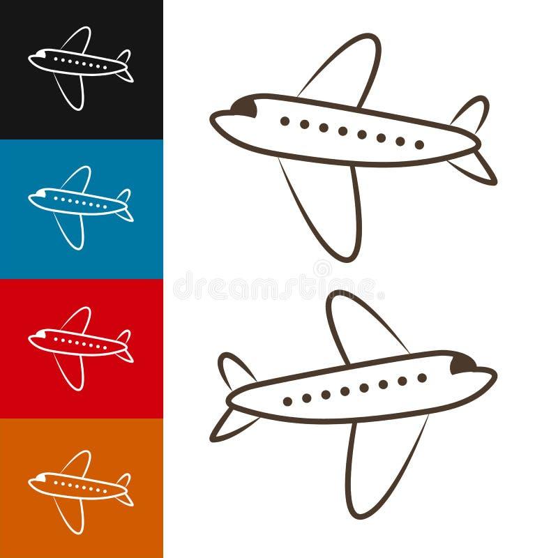 Isolerad typ av flygplanvektorn Illustration för flygplansidosikt Moderna typer av flygplanet royaltyfri bild