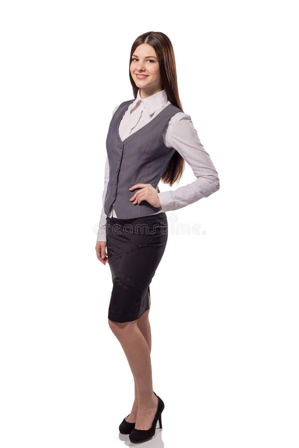 Isolerad ung nätt affärskvinna Full höjdstående arkivbild