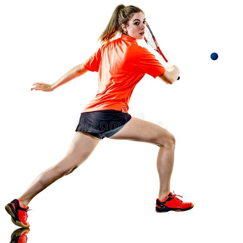 Isolerad ung spelare för squash för tonåringflickakvinna arkivbild