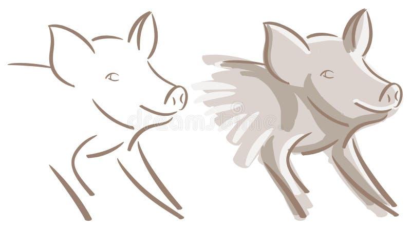 Isolerad uppsättning av det trevliga svinet vektor illustrationer