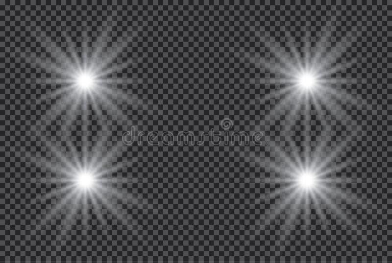 Isolerad uppsättning av guld- glödande ljuseffekter på genomskinlig bakgrund Solexponering med strålar och strålkastaren Ljus eff vektor illustrationer