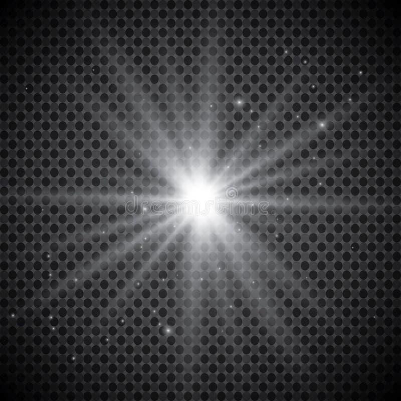 Isolerad uppsättning av guld- glödande ljuseffekter på genomskinlig bakgrund Solexponering med strålar och strålkastaren Ljus eff royaltyfri illustrationer