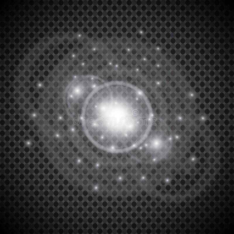 Isolerad uppsättning av guld- glödande ljuseffekter på genomskinlig bakgrund Solexponering med strålar och strålkastaren Ljus eff stock illustrationer