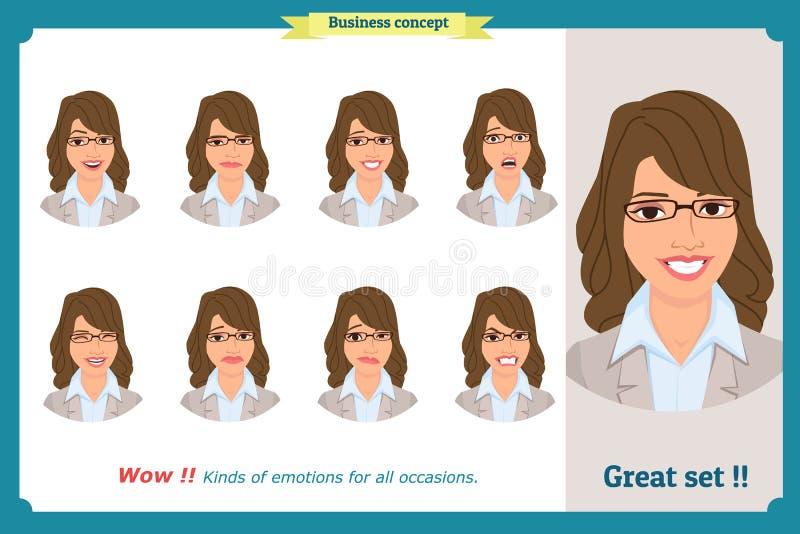 Isolerad uppsättning av kvinnauttryckt Unga sinnesrörelsestående Plan design Affärskvinnatecken royaltyfri illustrationer