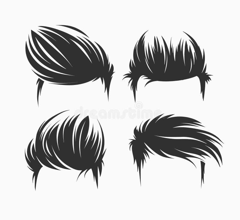 Isolerad uppsättning av män frisyr och frisyrer stock illustrationer