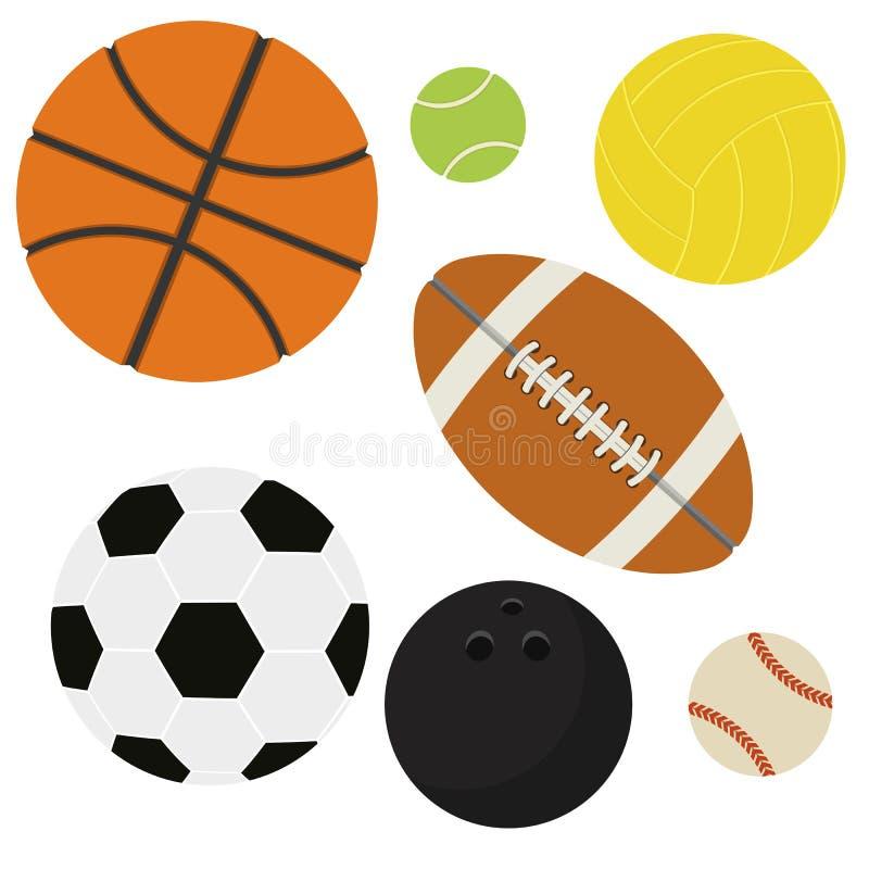 Isolerad uppsättning av sportbollar vektor illustrationer
