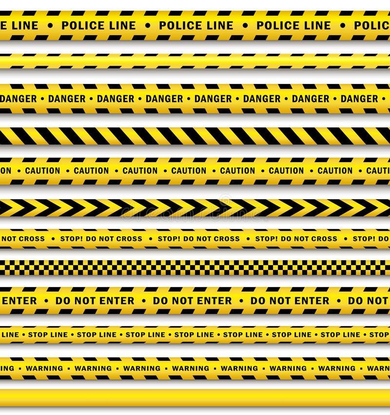 Isolerad uppsättning för band för polisen för vektorgulingsvart vektor illustrationer
