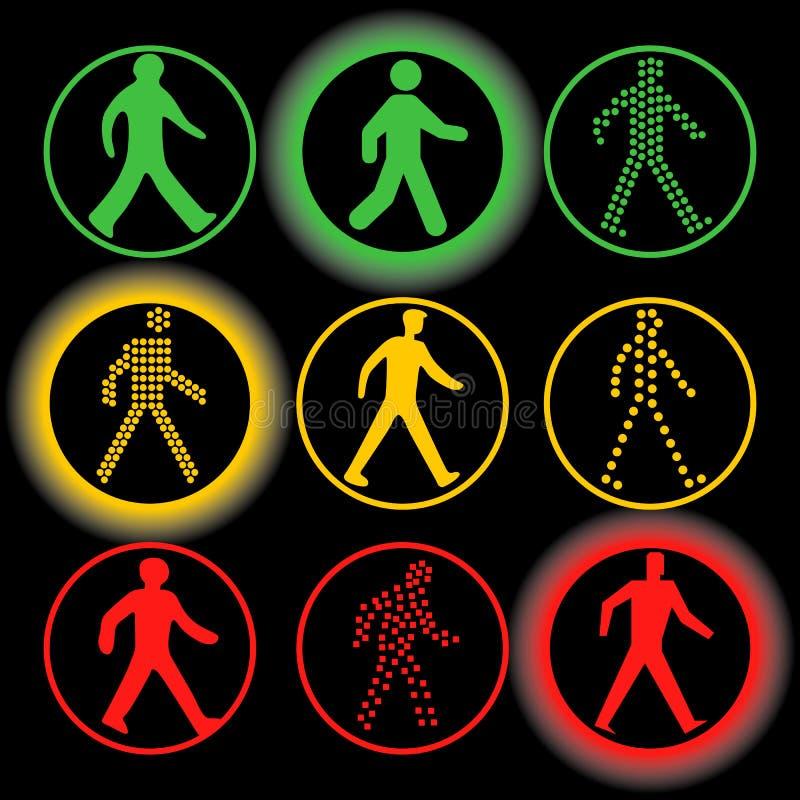 Isolerad uppsättning för logo för trafikljusbeståndsdelvektor Runda vägmärken royaltyfria foton