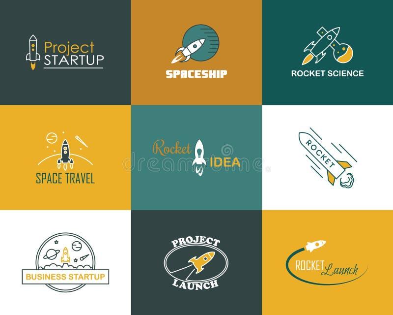 Isolerad uppsättning för logo för vektorraketdesign royaltyfri illustrationer