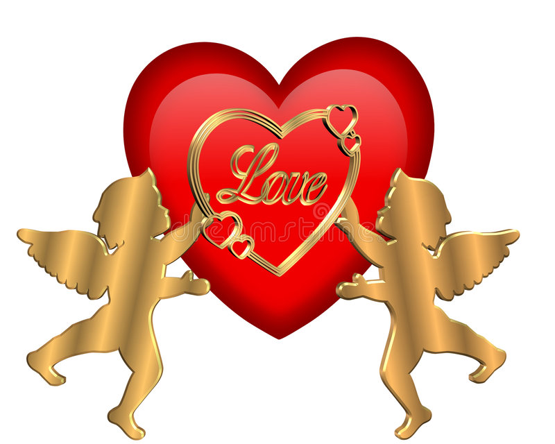 isolerad valentin för cupids hjärta royaltyfri illustrationer