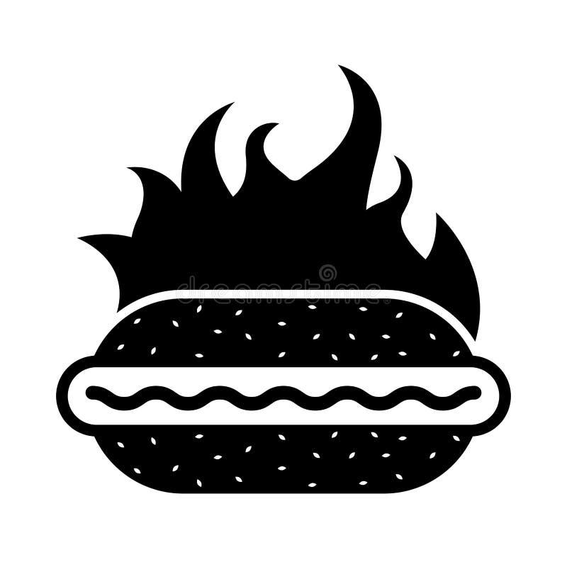 Isolerad varmkorvsymbol i flammor royaltyfri illustrationer