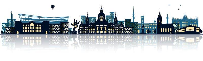 Isolerad vektor för Hannover tysk horisont stad royaltyfri illustrationer
