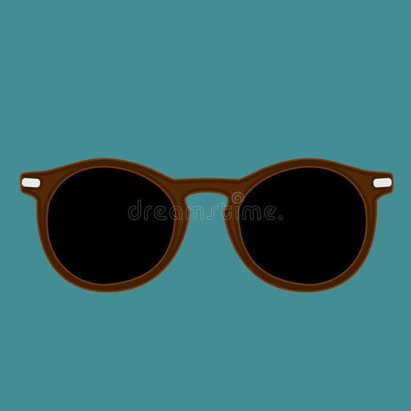 Isolerad vektor för Hipsterbruntfärg solglasögon på en indigoblå färgbakgrund stock illustrationer