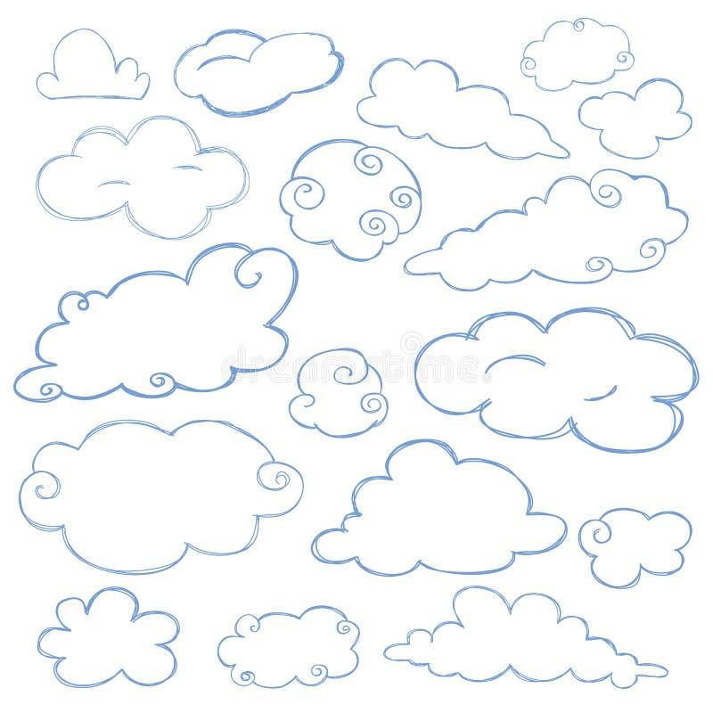 Isolerad vektor för molnklottersymbol uppsättning royaltyfri illustrationer