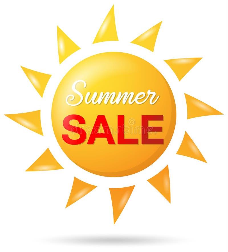 Isolerad vektor för sommarförsäljning sol stock illustrationer