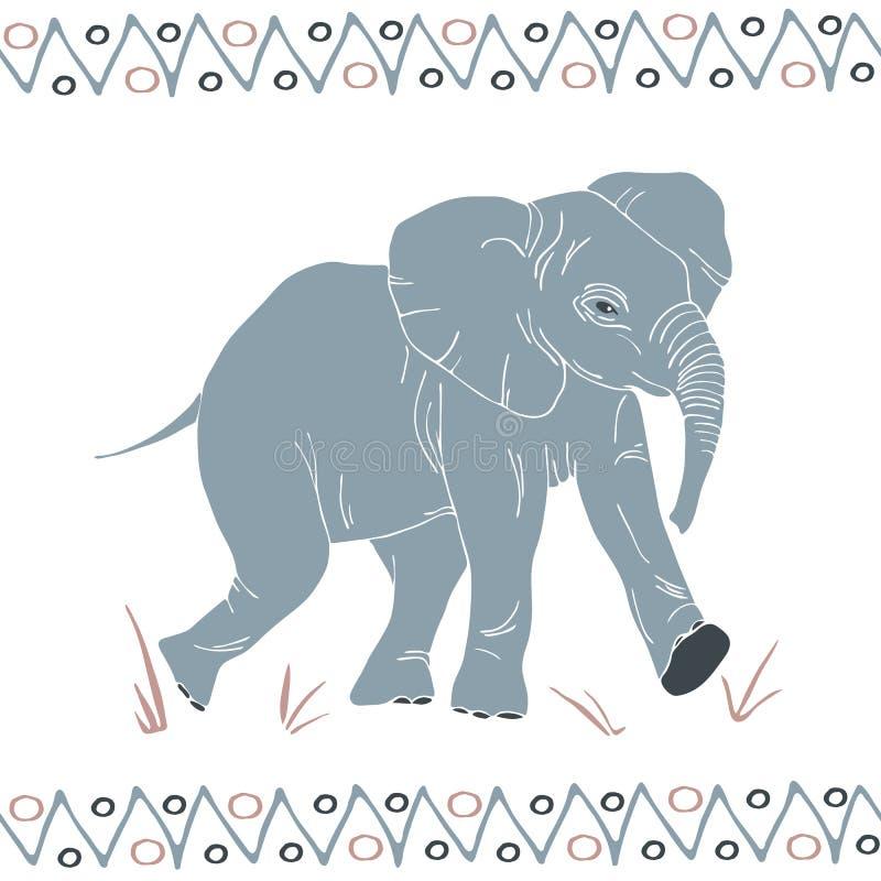 Isolerad vektor gå elefantmodellen stock illustrationer