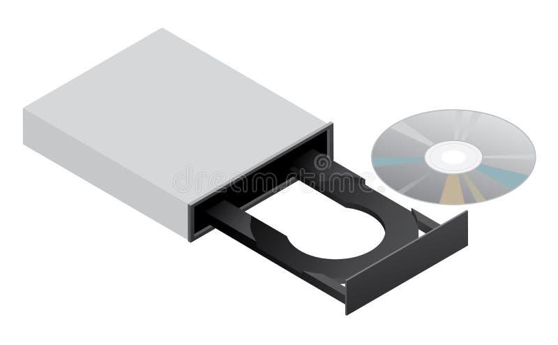Isolerad vektorbild för CD ROM DVD-enhet royaltyfri fotografi