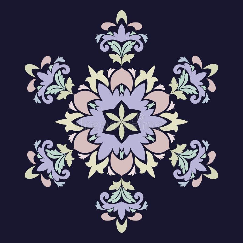 Isolerad vektorillustration Abstrakt blom- dekor Utsmyckad sex punktstjärna eller mandala med tappningmotiv vektor illustrationer
