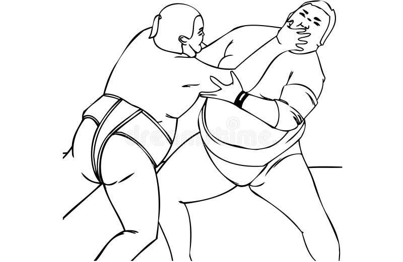 Isolerad vektorillustration av japanska manliga Sumobrottare vektor illustrationer