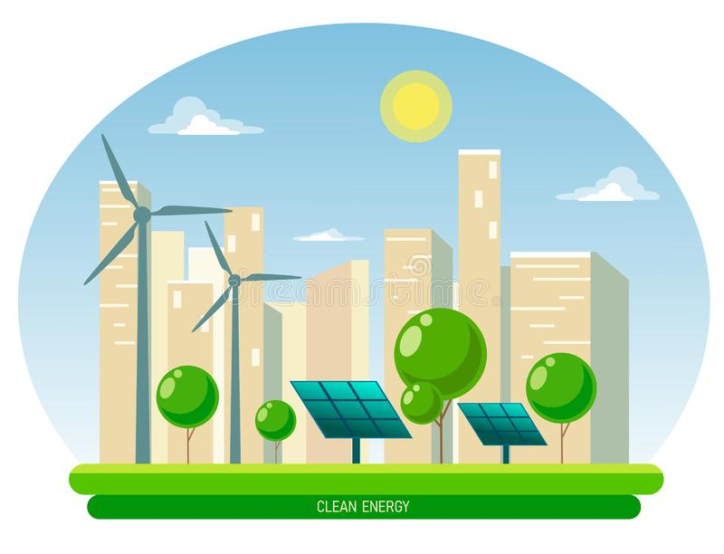 Isolerad vektorillustration av ren elektrisk energi från förnybara källor sol och vind Kraftverkstationsbyggnader med sola vektor illustrationer