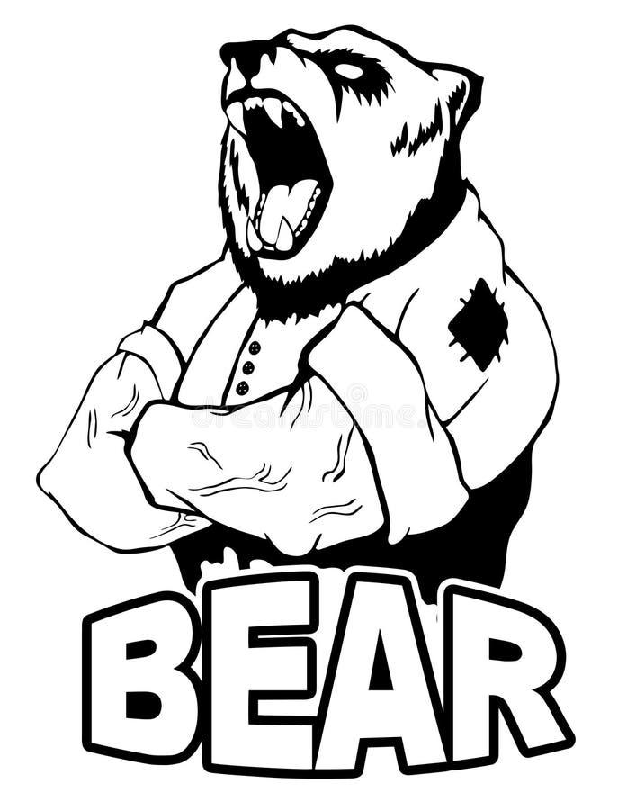 Isolerad vektorillustration en stark lös björnman logo stock illustrationer